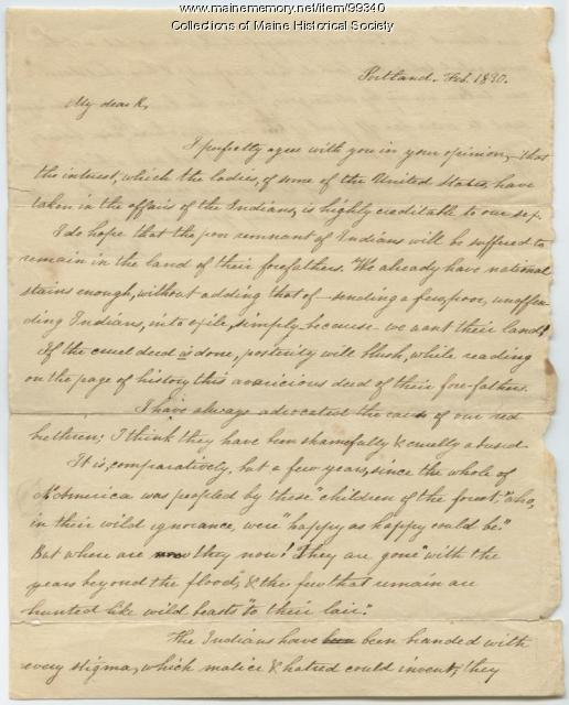 Lucretia Day to Kiah Sewall, Portland, 1830