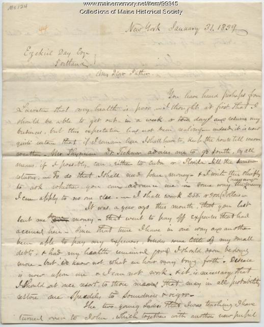 Kiah B. Sewall to Ezekiel Day on need for funds, New York, 1839