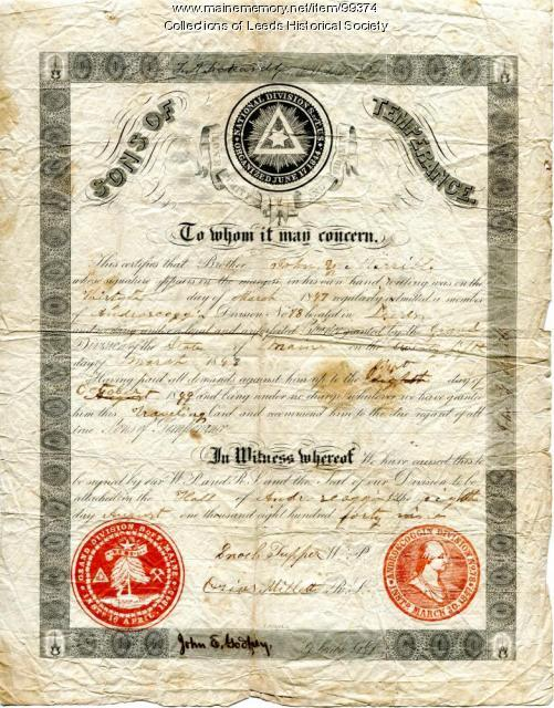 Sons of Temperance certificate, Leeds, 1847