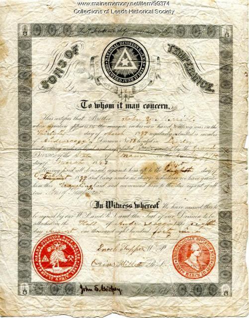 Sons of Temperance certificate, Leeds, 1847