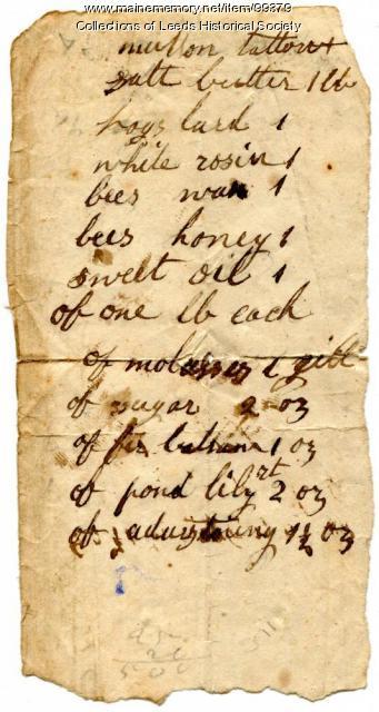 Salve recipe, ca. 1860