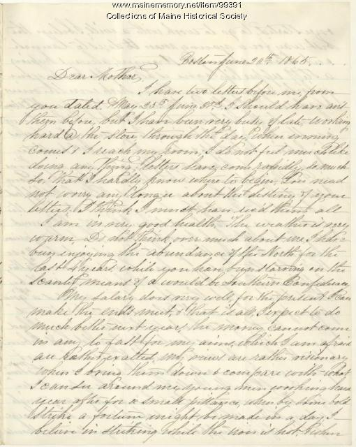 Somers Sewall letter to mother, Boston, 1865