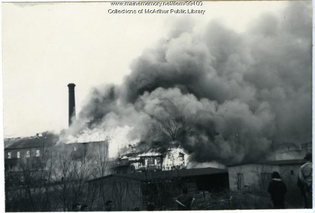 Fire inside of Diamond National lumberyard, Biddeford, 1963