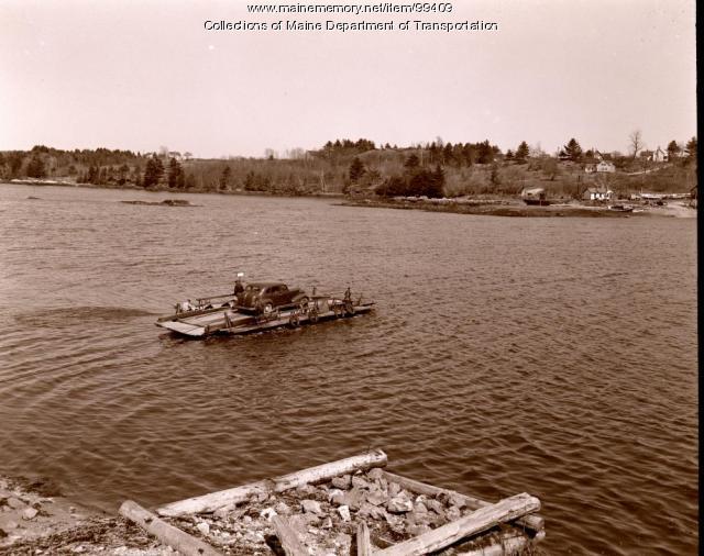Westport Ferry heads for island, Westport Island, 1941