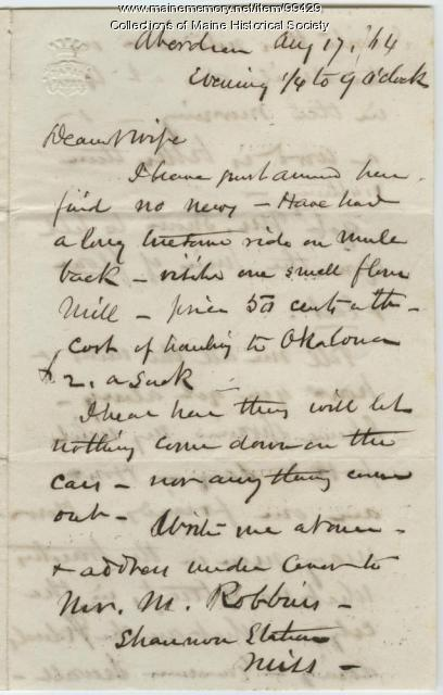 K.B. Sewall to wife on leaving Mobile, 1864