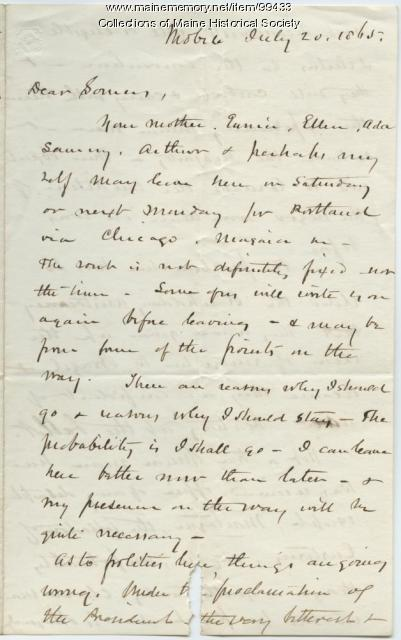 K.B. Sewall on plans to return to Portland, 1865