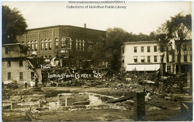 Main and Elm Street after Harmon's Corner Fire, Biddeford, 1911