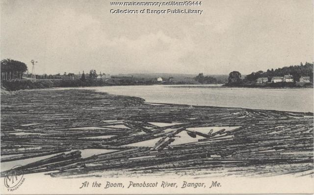 Lumber boom on the Penobscot River at Bangor, ca. 1905
