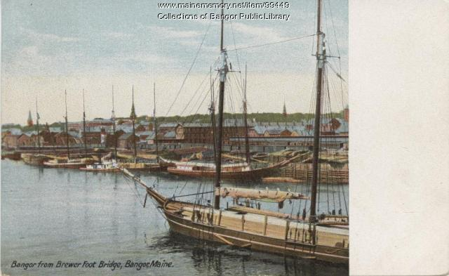 Lumber schooners on the Penobscot River at Bangor, ca. 1905
