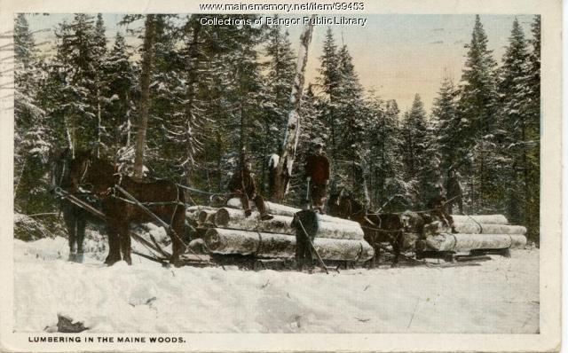 Bangor Lumber Company lumbermen with horses, ca. 1910