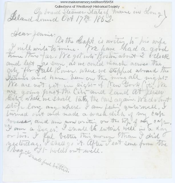 Lt. George B. Stevens letter to wife, Long Island, 1862