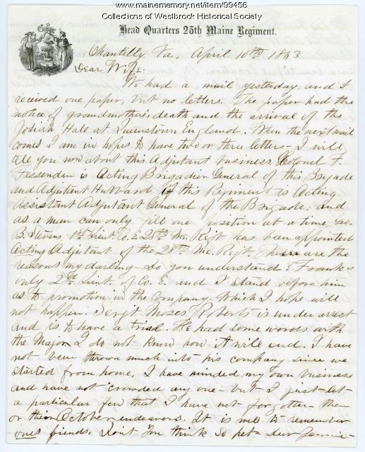 Lt. George B. Stevens to wife, Chantilly, VA, 1863