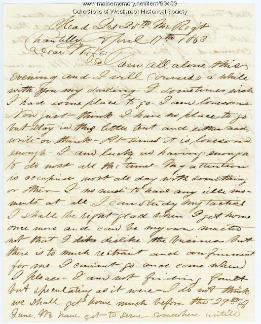 Lt. George B. Stevens letter to wife, Chantilly, VA, 1863