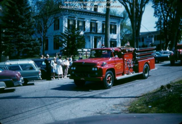 Engine 3 in Parade, Waldoboro, ca. 1960