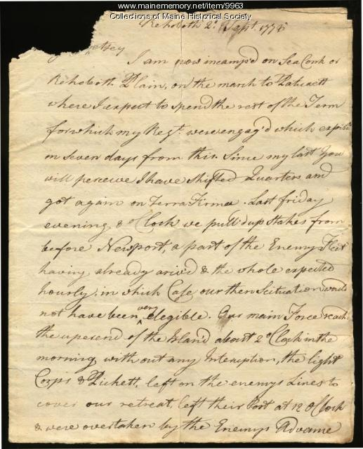 Peleg Wadsworth letter to wife, Betsey, 1778