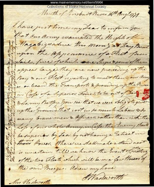Peleg Wadsworth letter about Penobscot Expedition, 1779