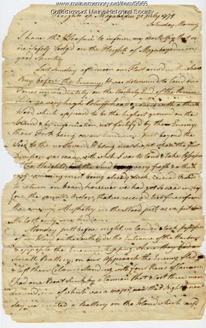 Peleg Wadsworth letter about Penobscot Expedition, July 31, 1779
