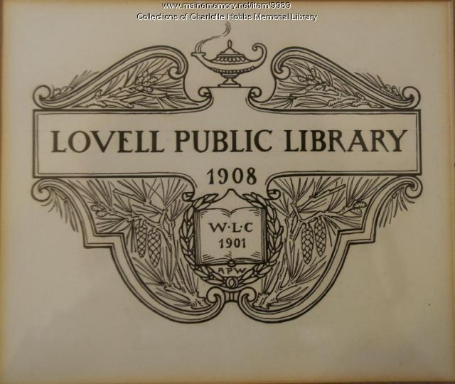 Original Lovell Public Library Logo, 1908